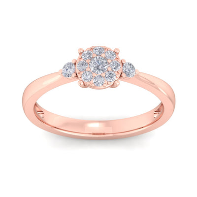 Elegant diamond ring in rose gold with white diamonds of 0.33 ct in weight