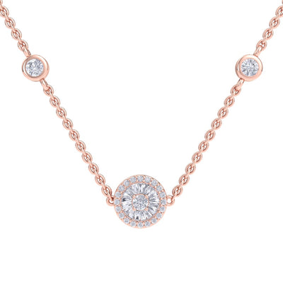Beautiful Necklace in rose gold with white diamonds of 0.37 ct in weight