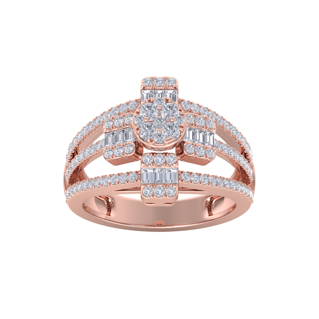 Beautiful ring in rose gold with white diamonds of 0.91 ct in weight