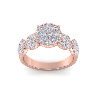 Bridal ring in rose gold with white diamonds of 2.29 ct in weight