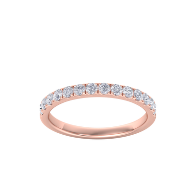 Classic Wedding band in rose gold with white diamonds of 0.49 ct in weight
