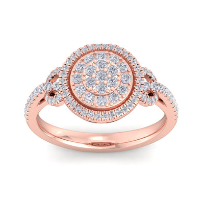 Halo Wedding ring in rose gold with white diamonds of 0.59 ct in weight