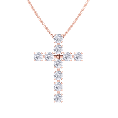 Diamond Cross Pendant in rose gold with white diamonds of 1.10 ct in weight