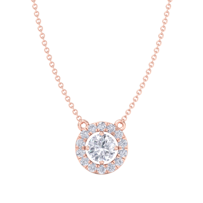 Classic Pendant in rose gold with white diamonds of 1.42 ct in weight