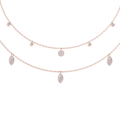 Multi-strand  necklace in rose gold with white diamonds of 0.65 ct in weight