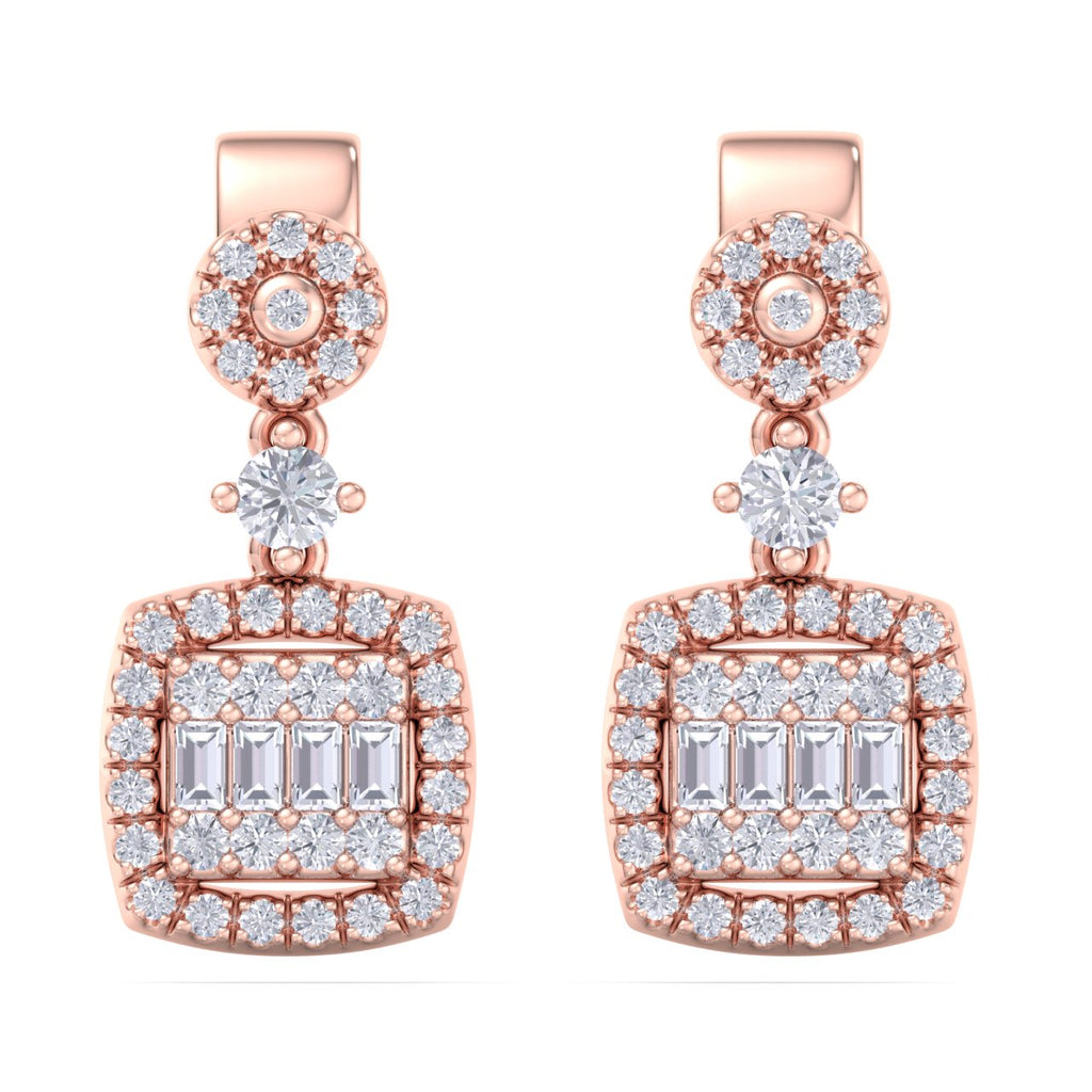 Drop earrings in rose gold with white diamonds of 0.61 ct in weight