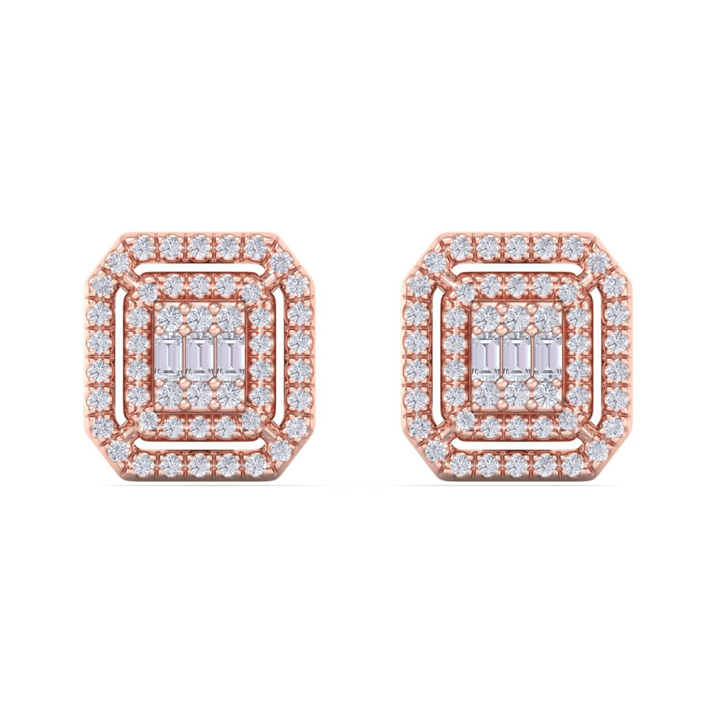 Square stud earrings in rose gold with white diamonds of 1.12 ct in weight