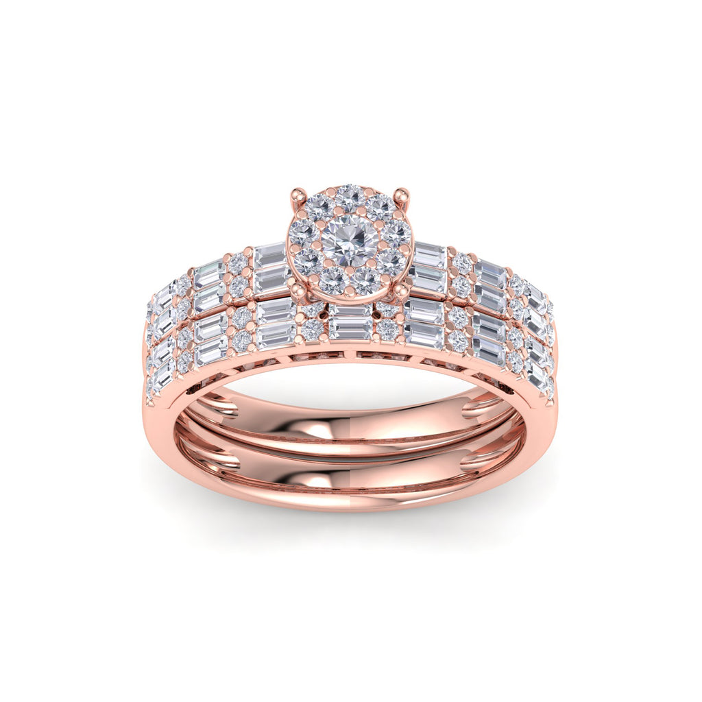 Glamourous bridal set in rose gold with white diamonds of 1.60 ct in weight