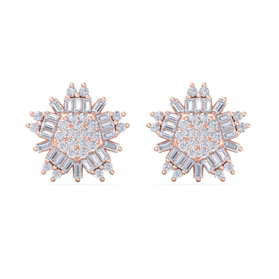 Snowflake earrings in rose gold with white diamonds of 0.83 ct in weight