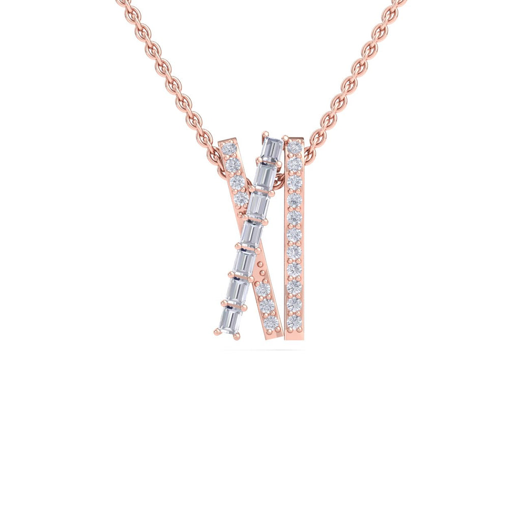 Necklace in rose gold with white diamonds of 0.44 ct in weight - HER DIAMONDS®