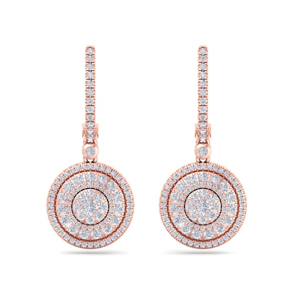 Round drop earrings in rose gold with white diamonds of 1.45 ct in weight - HER DIAMONDS®