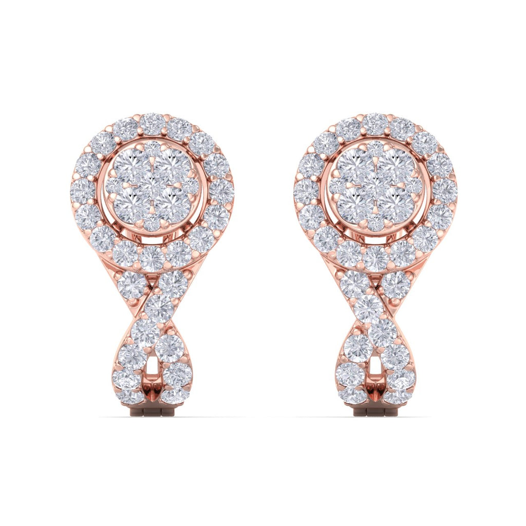 Classic earrings with french clip in rose gold with white diamonds 0.45 ct in weight