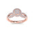 Round halo ring in rose gold with white diamonds of 0.98 ct in weight