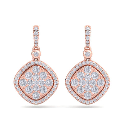 Square drop earrings in rose gold with white diamonds of 1.39 ct in weight - HER DIAMONDS®