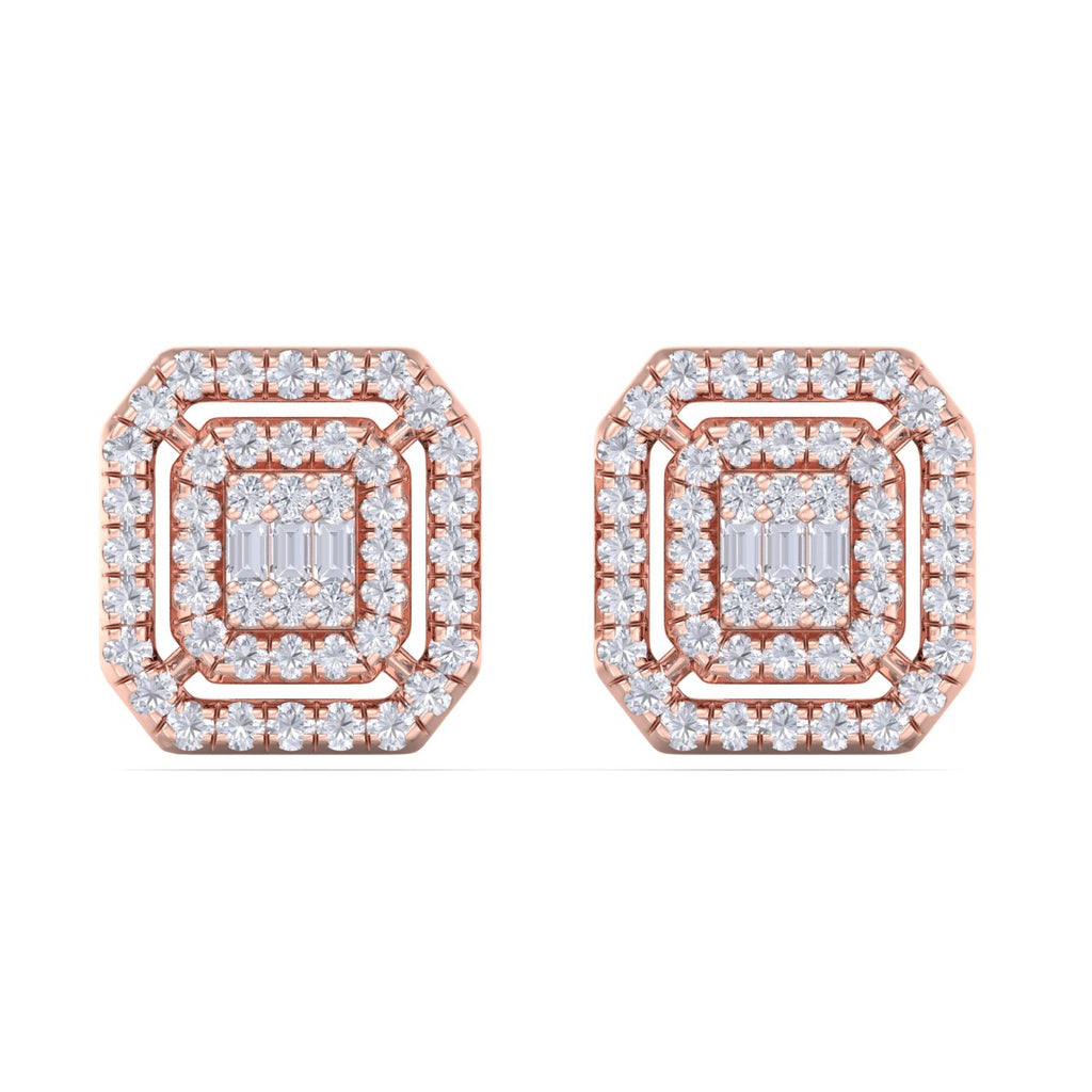 Square stud earrings in rose gold with white diamonds of 0.41 ct in weight