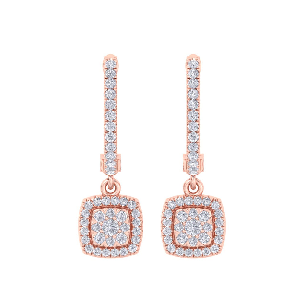 Square drop earrings in rose gold with white diamonds of 0.54 ct in weight - HER DIAMONDS®