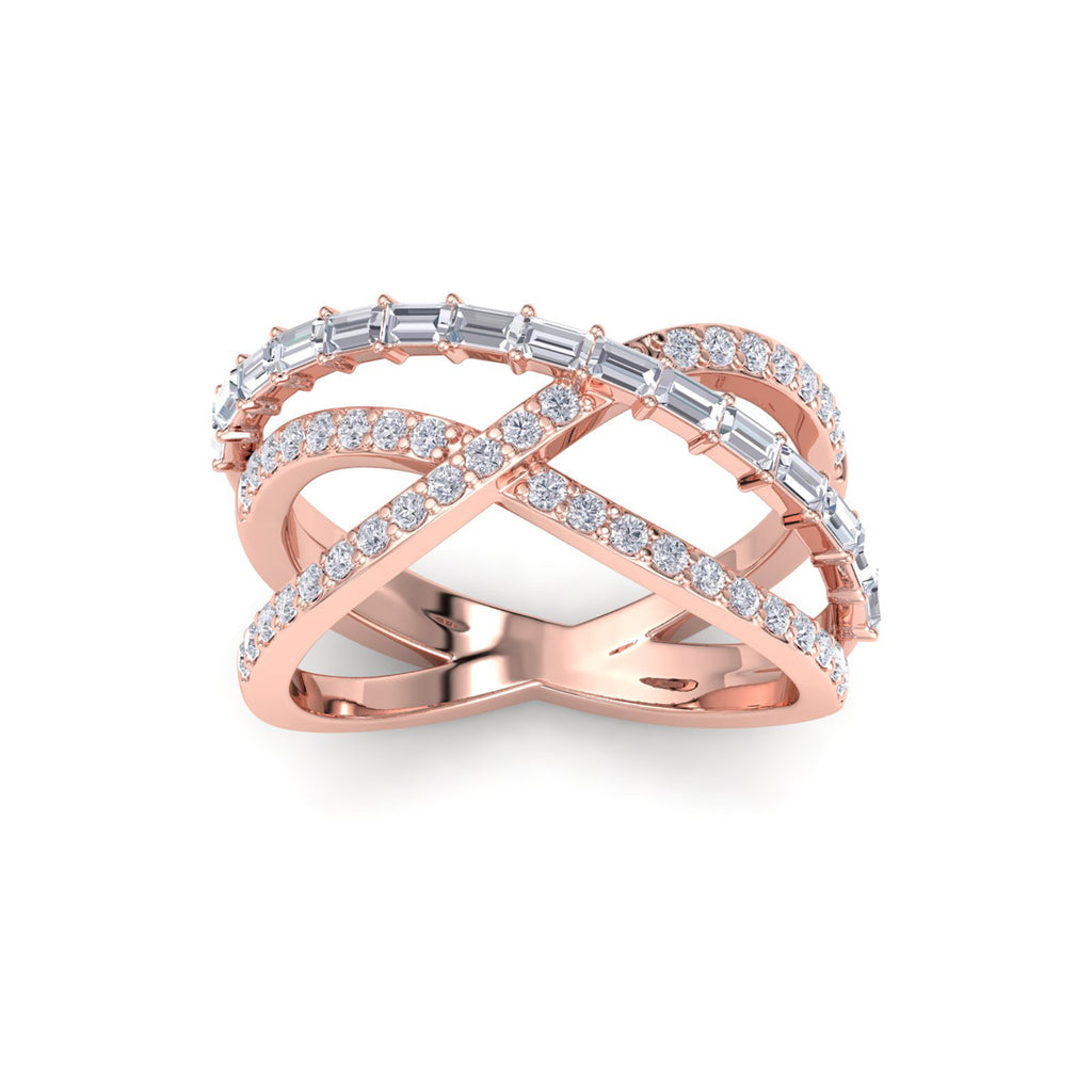 Ring in rose gold with white diamonds of 1.07 ct in weight