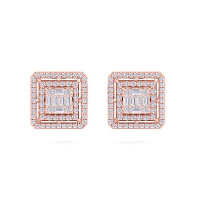 Square stud earrings in rose gold with white diamonds of 0.71 ct in weight - HER DIAMONDS®
