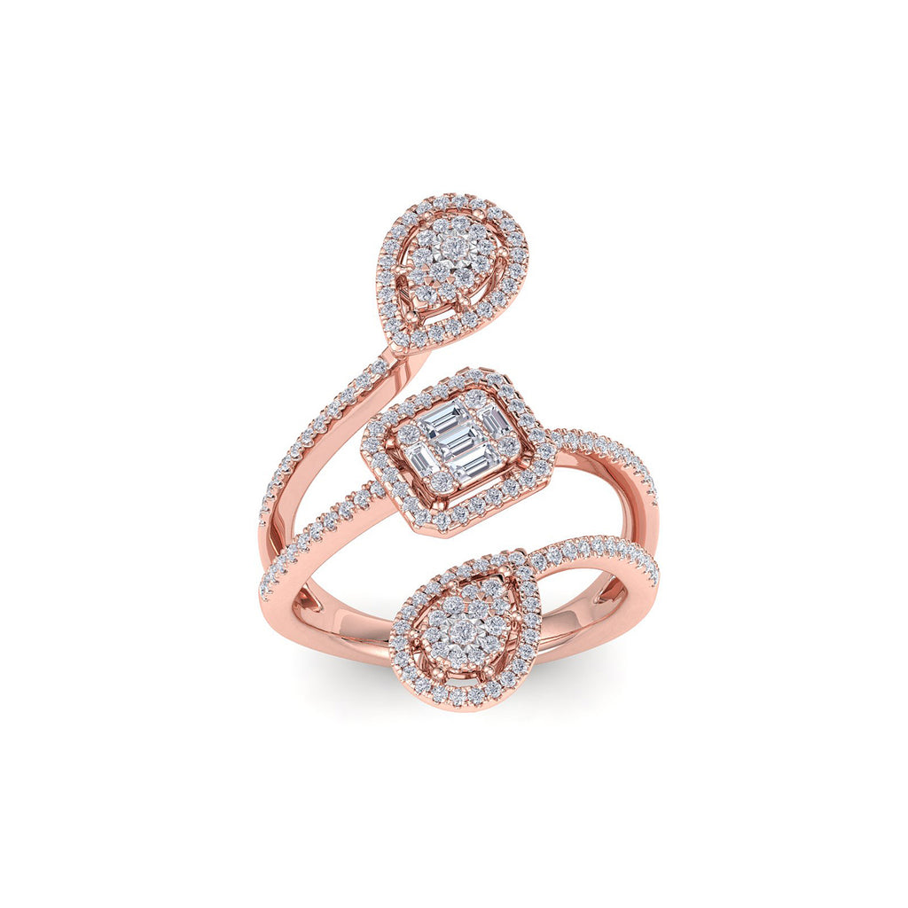 Multi-band ring in rose gold with white diamonds of 0.79 ct in weight