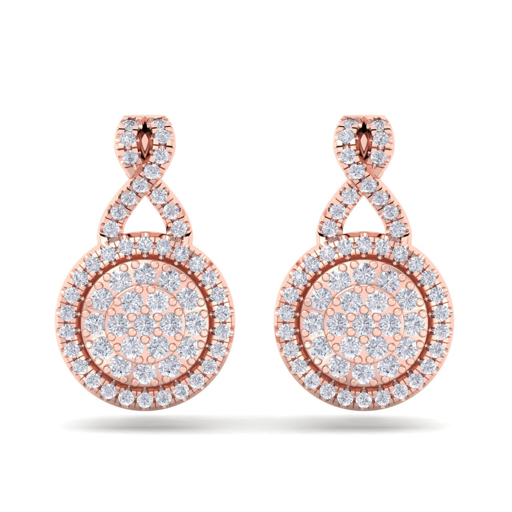 Round earrings in rose gold with white diamonds of 0.51 ct in weight - HER DIAMONDS®