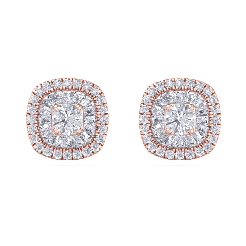 Square halo stud earrings in rose gold with white diamonds of 0.50 ct in weight