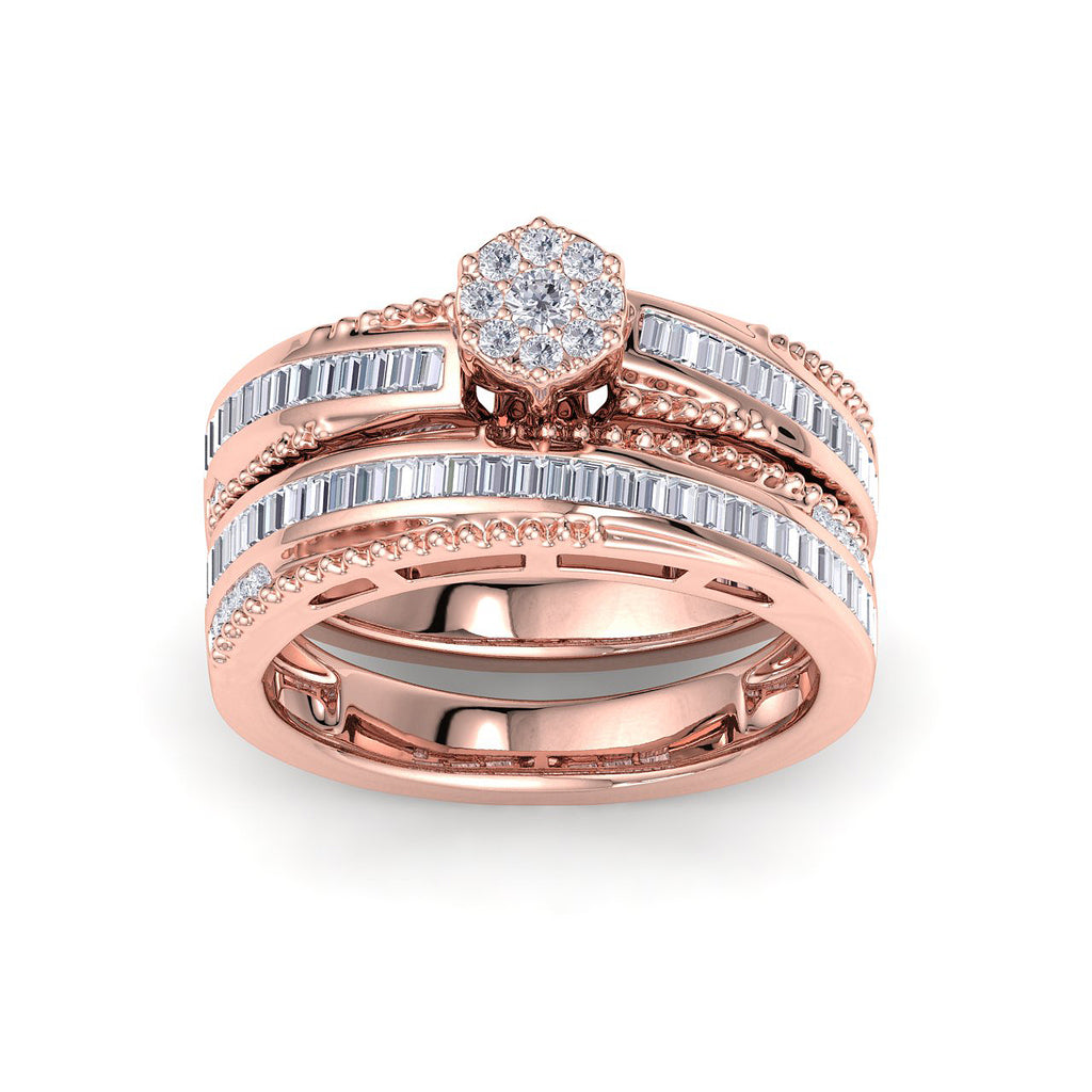 Bridal ring set in rose gold with white diamonds of 0.58 ct in weight - HER DIAMONDS®