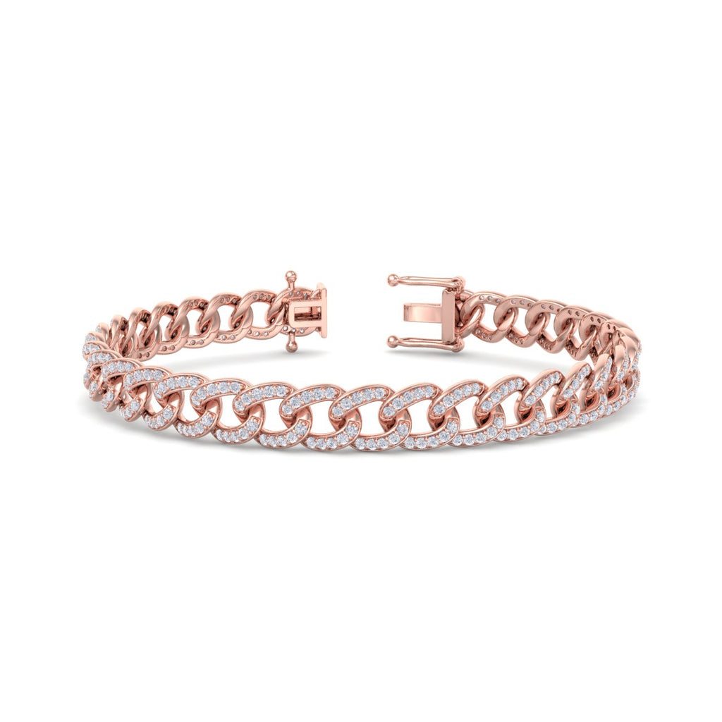 Bracelet chain in rose gold with white diamonds of 1.44 ct in weight