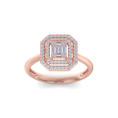 Square diamond ring in rose gold with white diamonds of 0.28 ct in weight