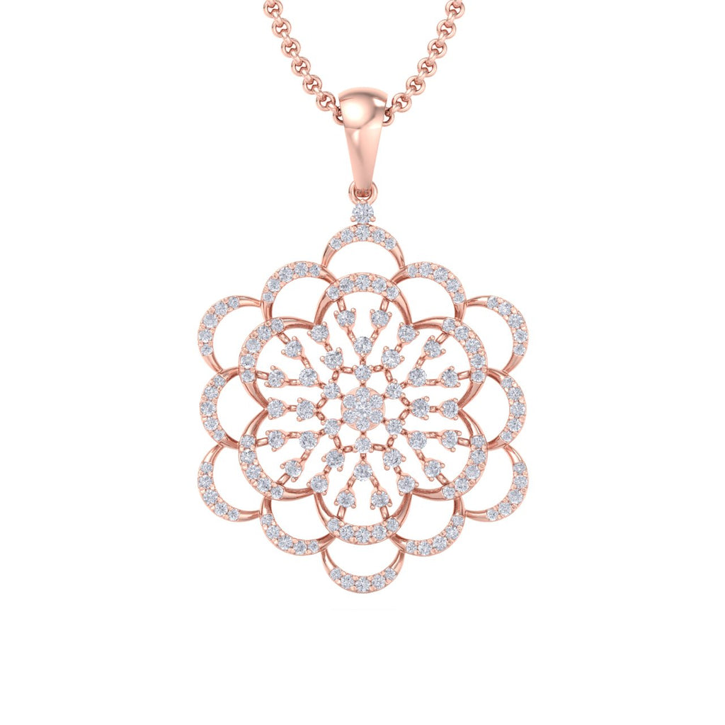 Flower pendant in rose gold with white diamonds of 1.99 ct in weight