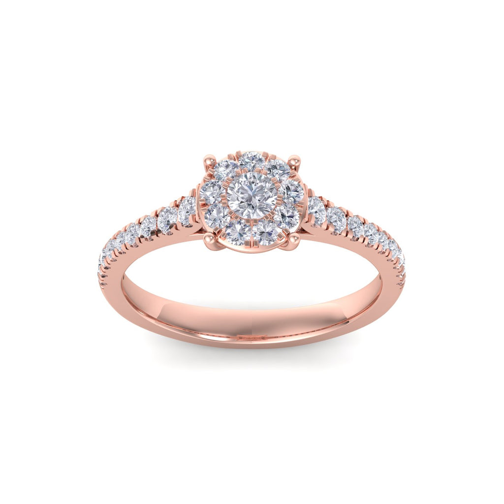 Halo engagement ring with pavé band in rose gold with white diamonds of 0.56 ct in weight