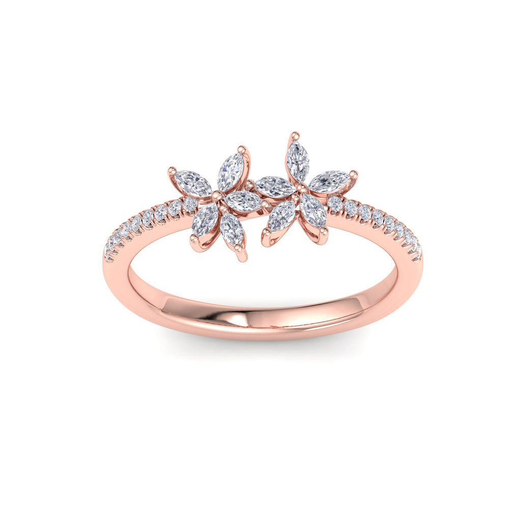 Two of a kind flower ring in rose gold with white diamonds of 0.70 ct in weight