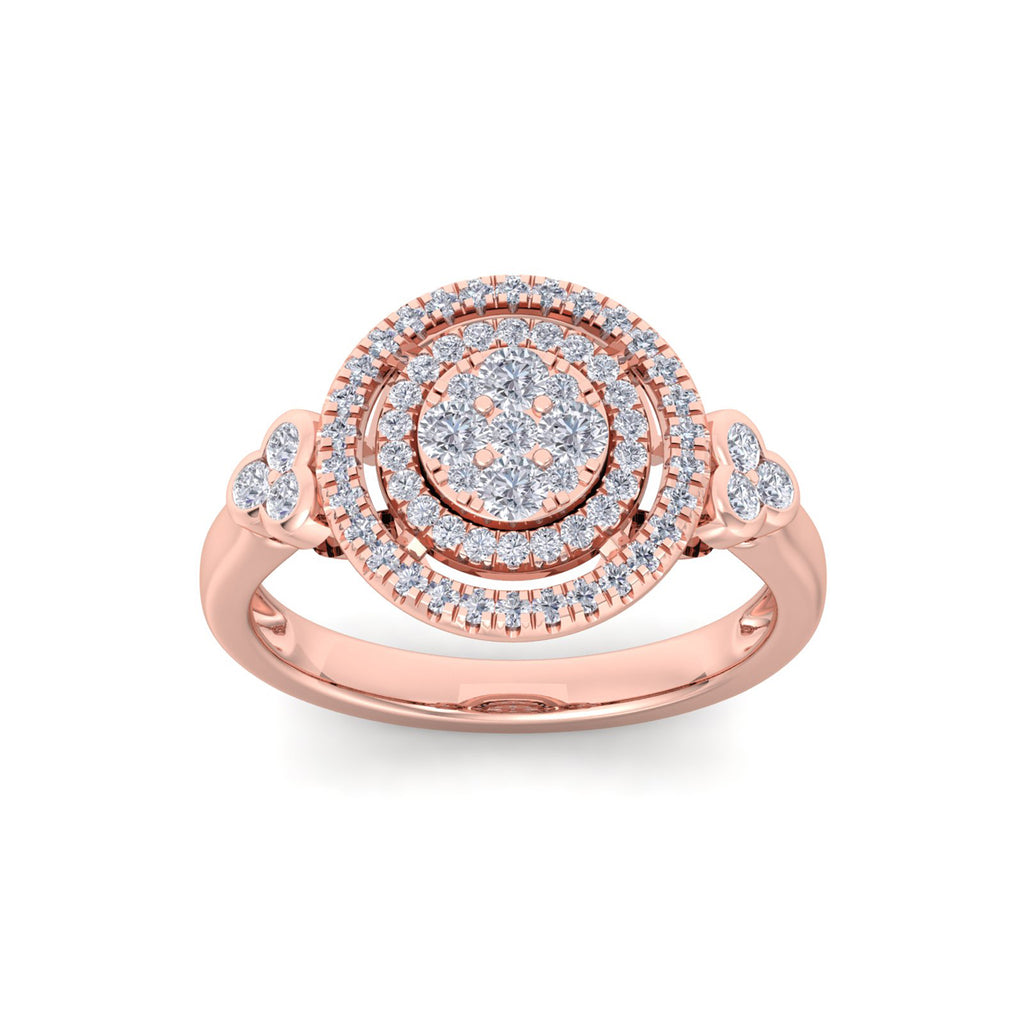 Circle ring in rose gold with white diamonds of 0.67 ct in weight
