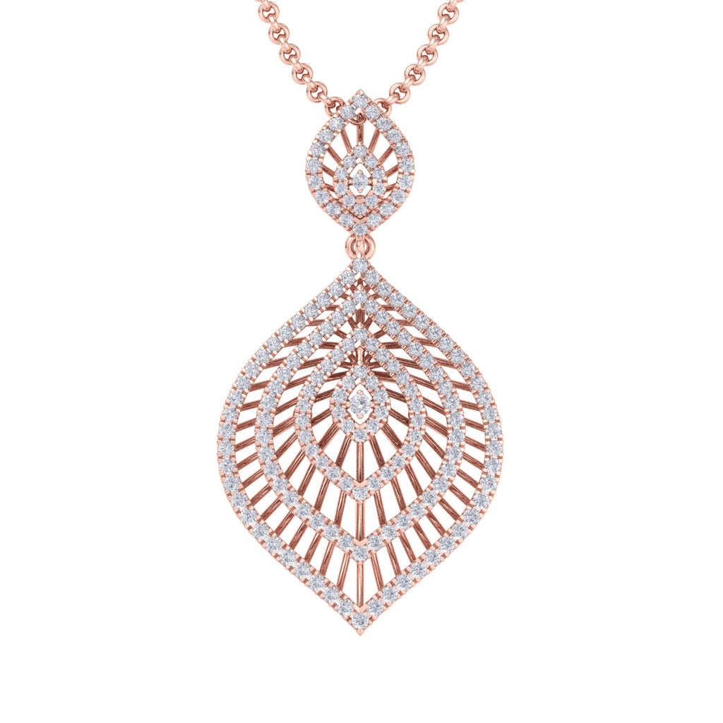 Exclusive pendant in rose gold with white diamonds of 2.03 ct in weight