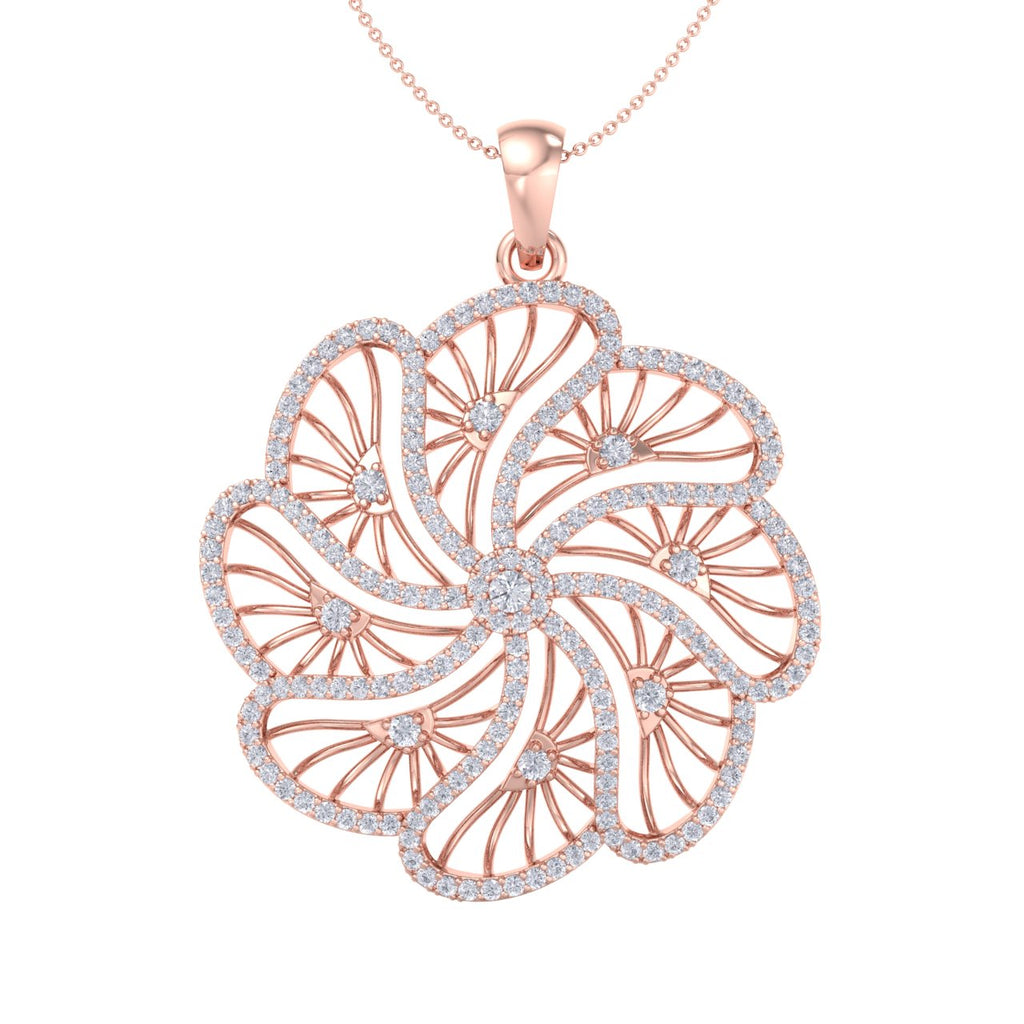 Flower pendant in rose gold with white diamonds of 2.70 ct in weight