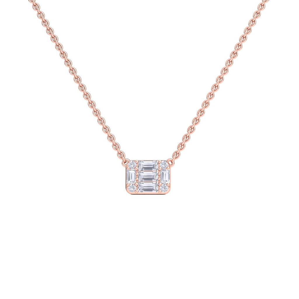 Baguette necklace in rose gold with white diamonds of 0.57 ct in weight