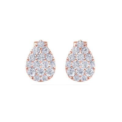 Pear shaped stud earrings in rose gold with white diamonds of 0.71 ct in weight
