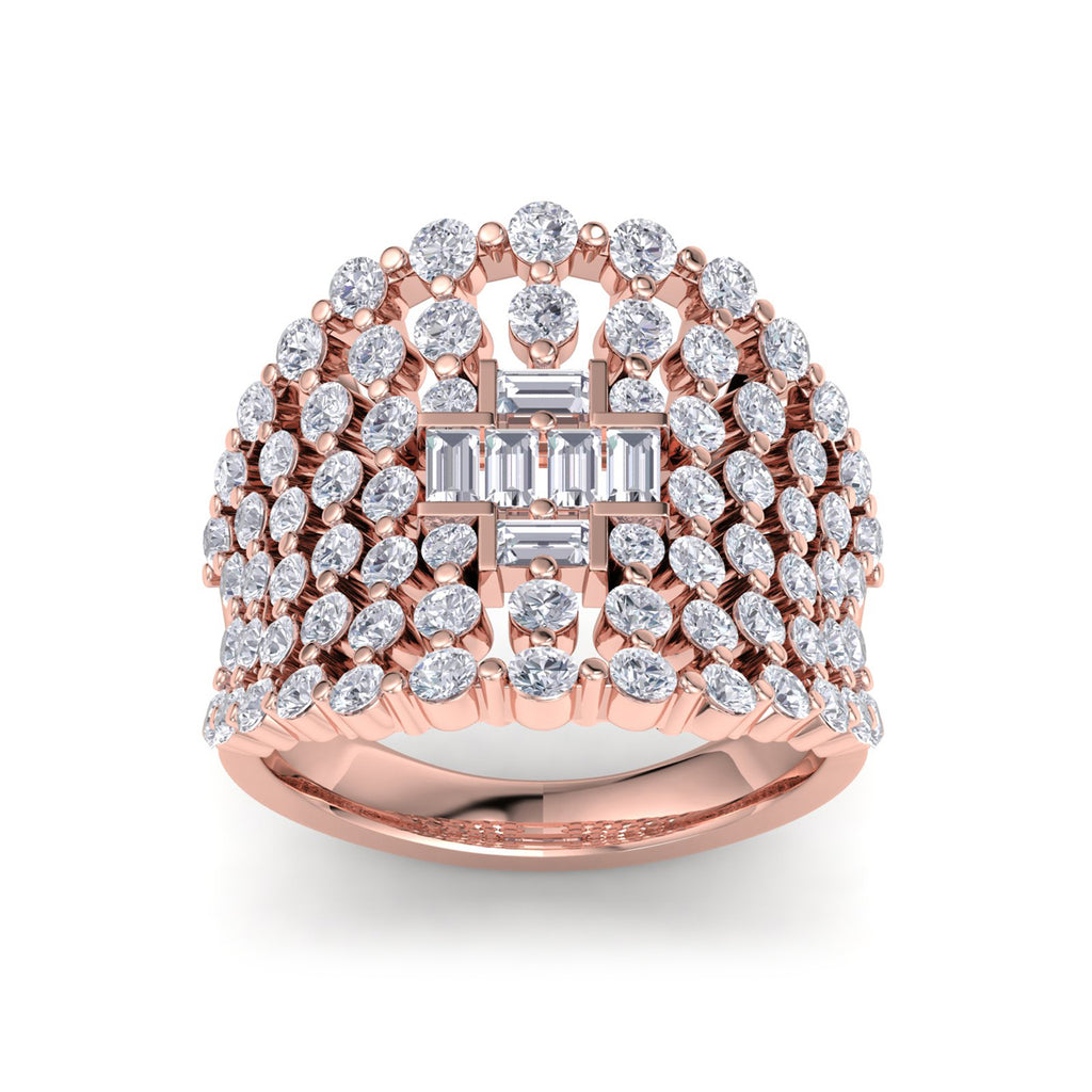 Multi-band ring in rose gold with white diamonds of 3.14 ct in weight