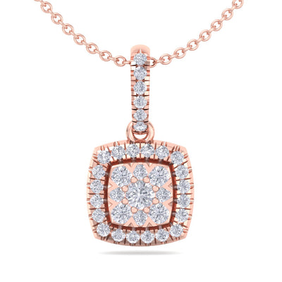 Classic square pendant in rose gold with white diamonds of 0.35 ct in weight - HER DIAMONDS®