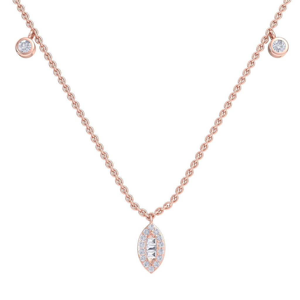 Marquise necklace in rose gold with white diamonds of 0.49 ct in weight - HER DIAMONDS®