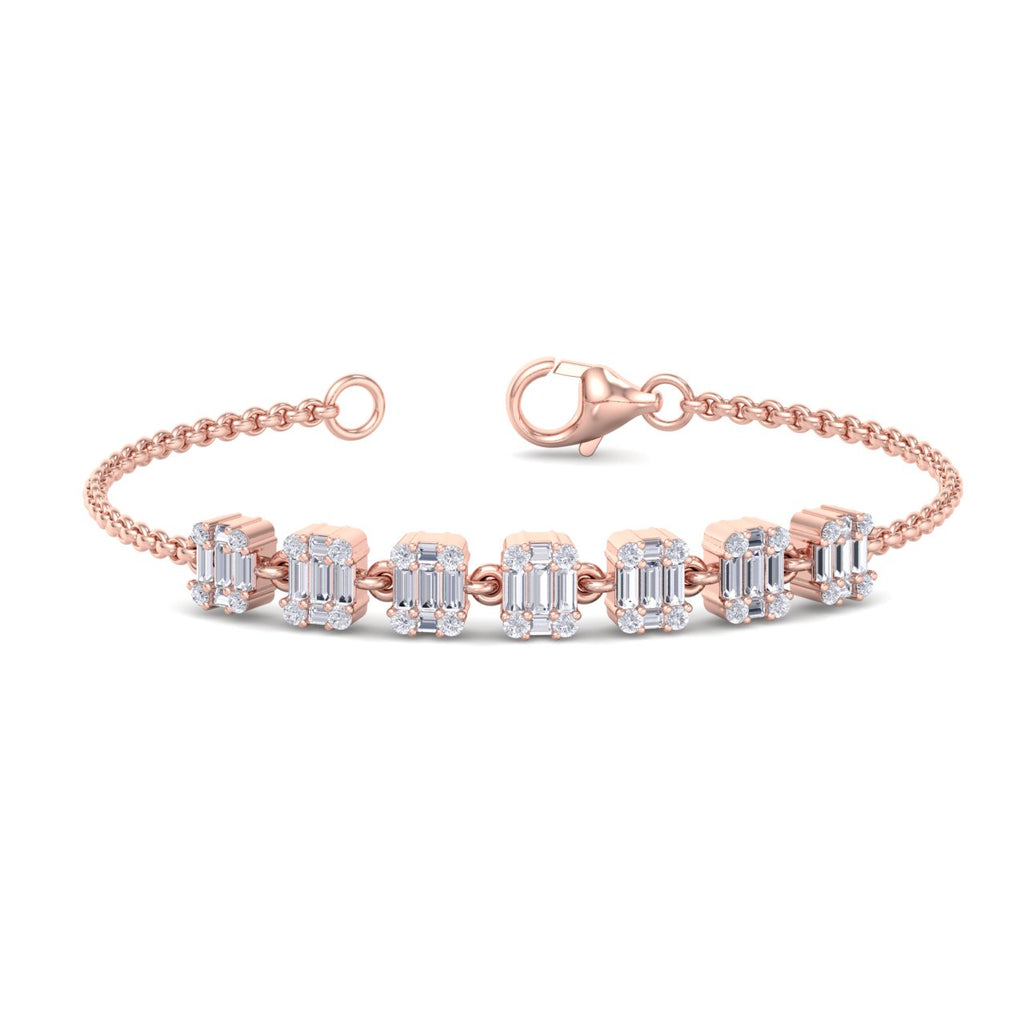 Dainty bracelet in rose gold with baguette white diamonds of 0.72 ct in weight