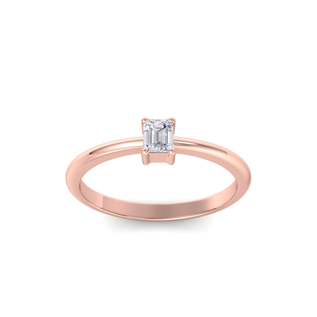 Emerald shaped petite diamond ring in rose gold with white diamonds of 0.25 in weight