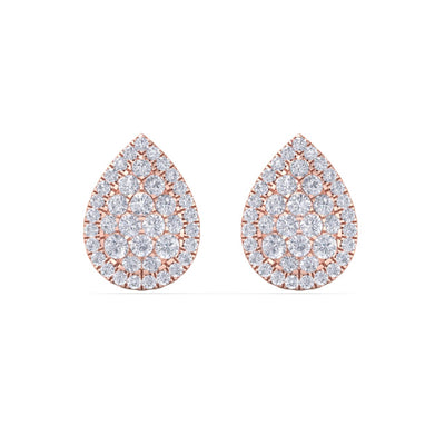 Pear shaped stud earrings in rose gold with white diamonds of 1.01 ct in weight