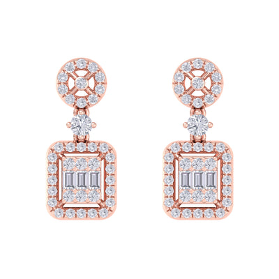 Square drop earrings in rose gold with white diamonds of 0.61 ct in weight - HER DIAMONDS®