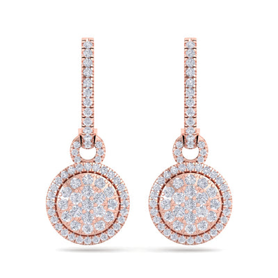 Round drop earrings in rose gold with white diamonds of 0.84 ct in weight - HER DIAMONDS®