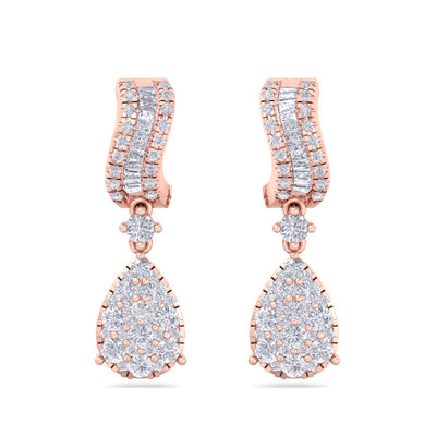 Pear drop earrings in rose gold with white diamonds of 1.43 ct in weight - HER DIAMONDS®