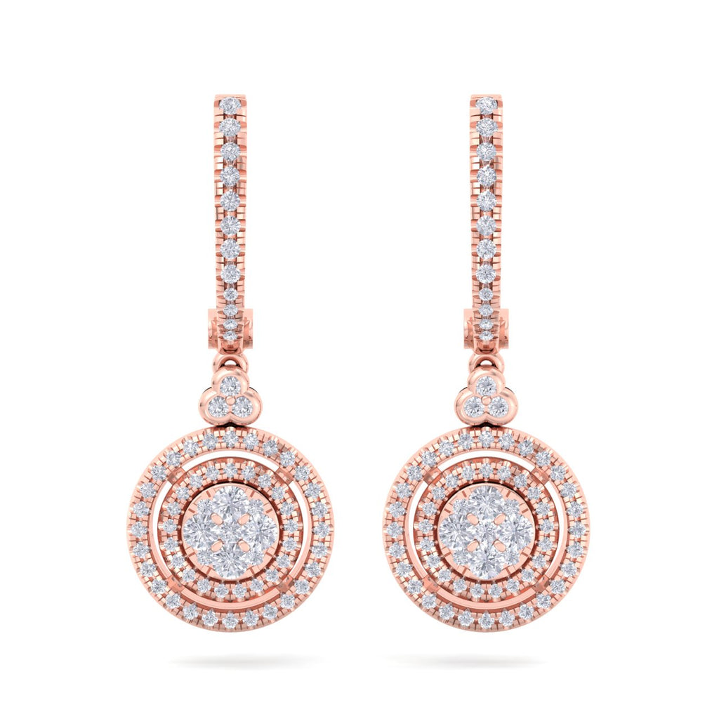 Round drop earrings in rose gold with white diamonds of 0.88 ct in weight - HER DIAMONDS®
