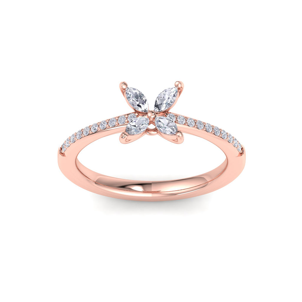 Flower ring in rose gold with white diamonds of 0.60 ct in weight
