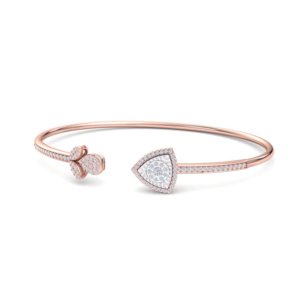 Bangle with tulip in rose gold white diamonds of 0.52 ct in weight