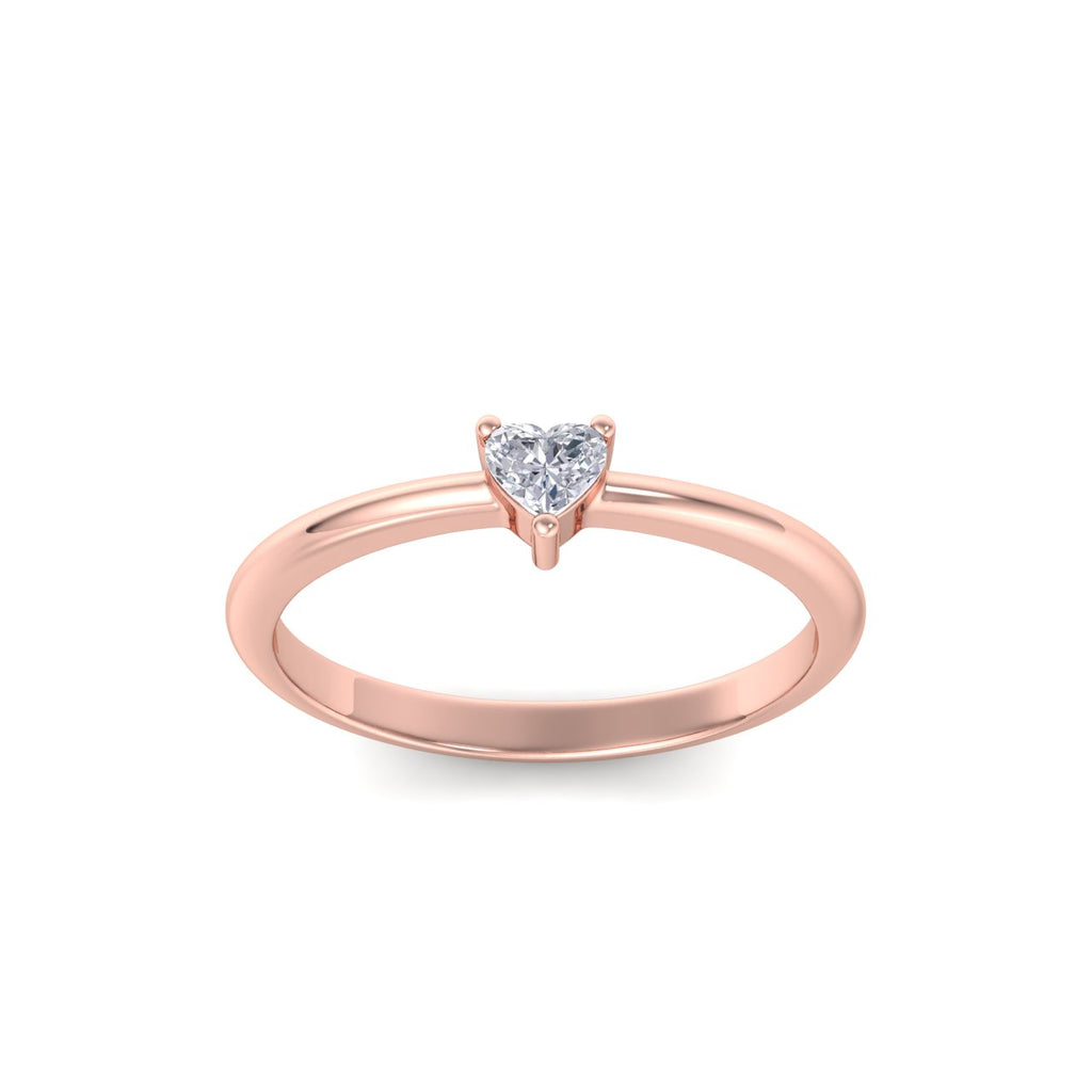Heart shaped petite diamond ring in rose gold with white diamonds of 0.25 ct in weight