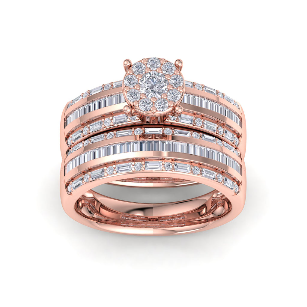 Bridal set in rose gold with white diamonds of 1.02 ct in weight